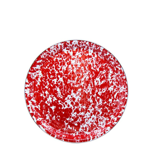 Modern Medium Tray Red Swirl For Sale - Image 3 of 3