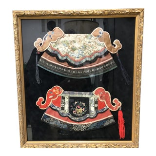 Chinoiserie Style Antique Chinese Hats Wall Art in Vintage Gilt Frame For Sale