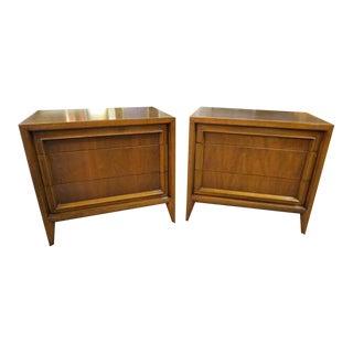 1960s Vintage Mid Century Modern Century Walnut Nightstands-A Pair For Sale