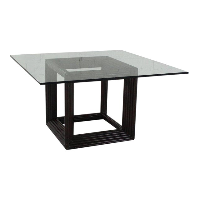 Exceptional Large Square Thick Glass Top Rattan Cube Base Dining - Large square conference table