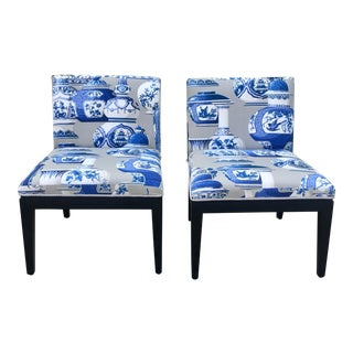Pair of Dunbar Style Chinoiserie Slipper Chairs For Sale