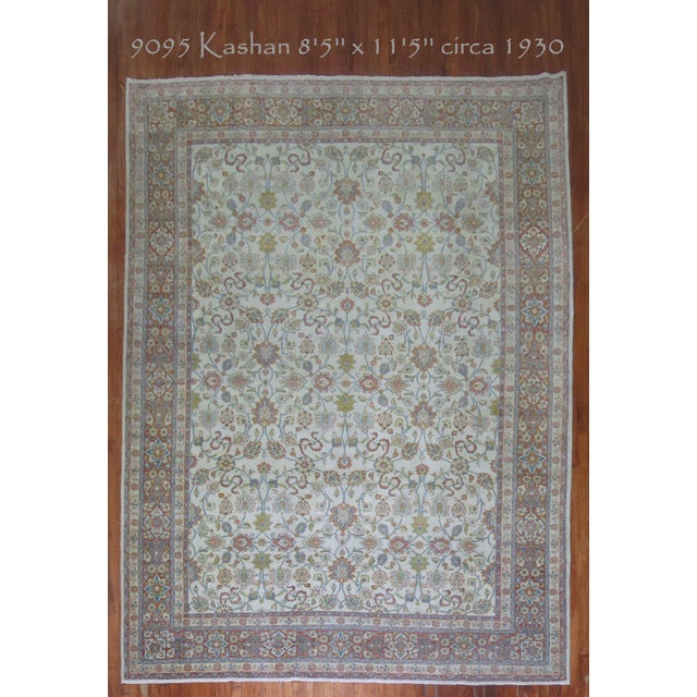 White Shabby Chic Ivory Antique Rug, 8'5'' X 11'5'' For Sale - Image 8 of 8