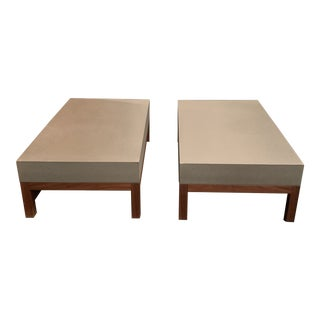 Modern Concrete Thick Top Coffee Tables - a Pair For Sale