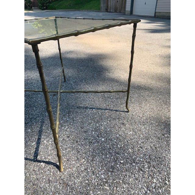Hollywood Regency Brass Faux-Bamboo Side Table For Sale In New York - Image 6 of 8