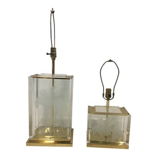 Fredrick Ramond Lucite and Brass 1985 Table Lamps - a Pair For Sale