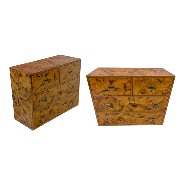 Pair of Patchwork Burl Campaign Style Chests For Sale