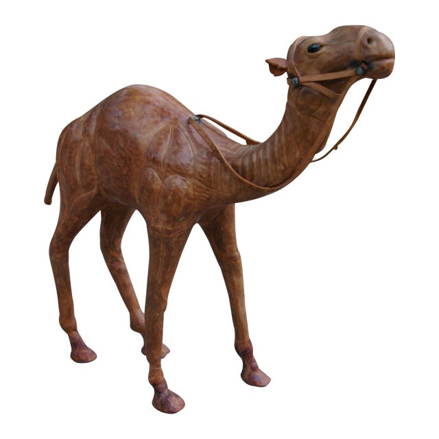 Vintage Leather Standing Camel - Image 1 of 4
