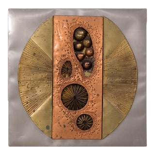 An Abstract Metal Wall Sculpture Panel USA 1970s For Sale