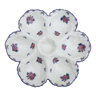 Porcelain Roses Oyster Plate Limoges Circa 1920 For Sale