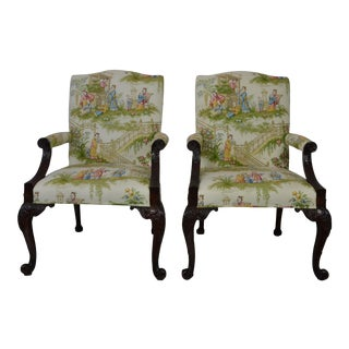 Chippendale Style Arm Chairs - a Pair For Sale