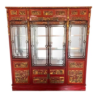 Chinese Breakfront in Carved and Lacquered Wood With Mirrored Back For Sale