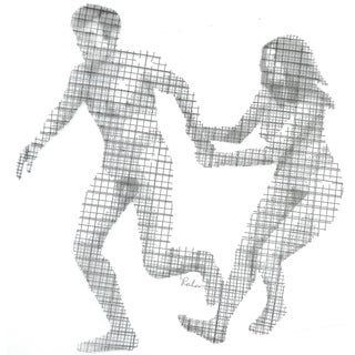 """Brutalist Wire Mesh Wall Sculpture titled """"Adam & Eve"""" by Stephen Rochow For Sale"""