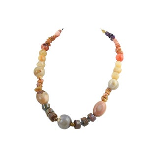 Agate & Amethyst Gemstone Necklace For Sale