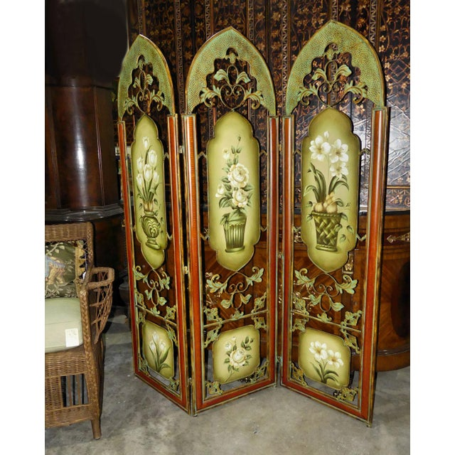 Painted Metal Room Divider/ Floor Screen or Queen Size Headboard For Sale - Image 4 of 13