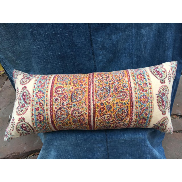 1970's Indian Hand-Blocked Textile Pillow For Sale - Image 4 of 7