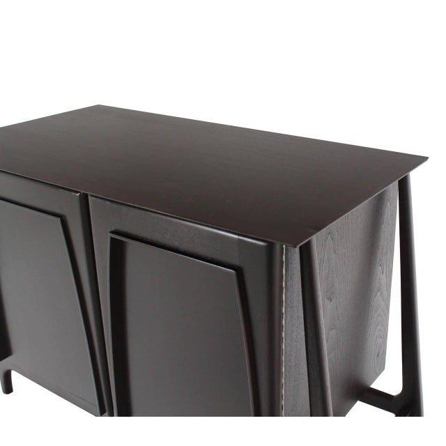 Two-Door Sculptural Exposed Leg Ebonized Server Three-Drawer Bachelor Chest For Sale In New York - Image 6 of 8