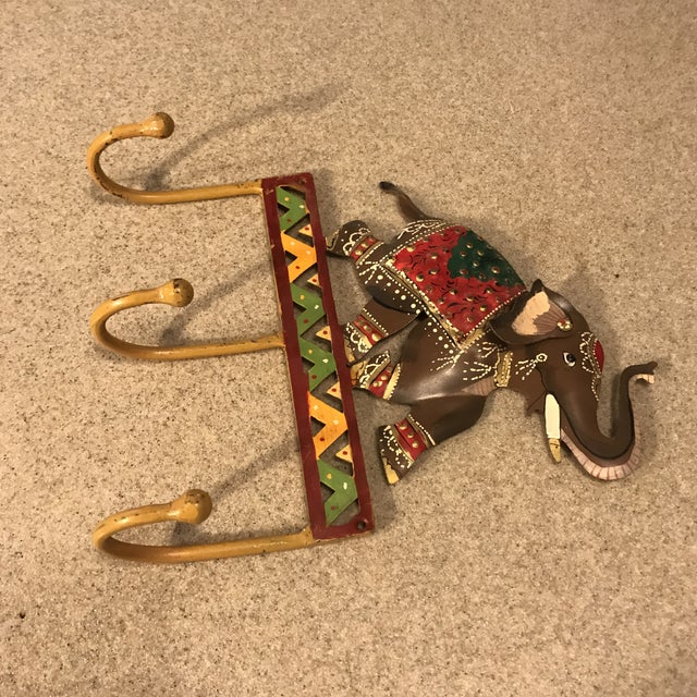 Metal Hand Painted Elephant Coat Hook For Sale - Image 10 of 11