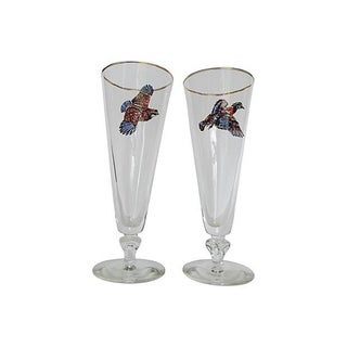 Game Bird Tall Beer Glasses - A Pair