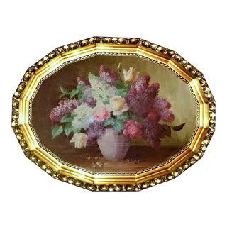 Gold Gilt Framed Floral Painting For Sale