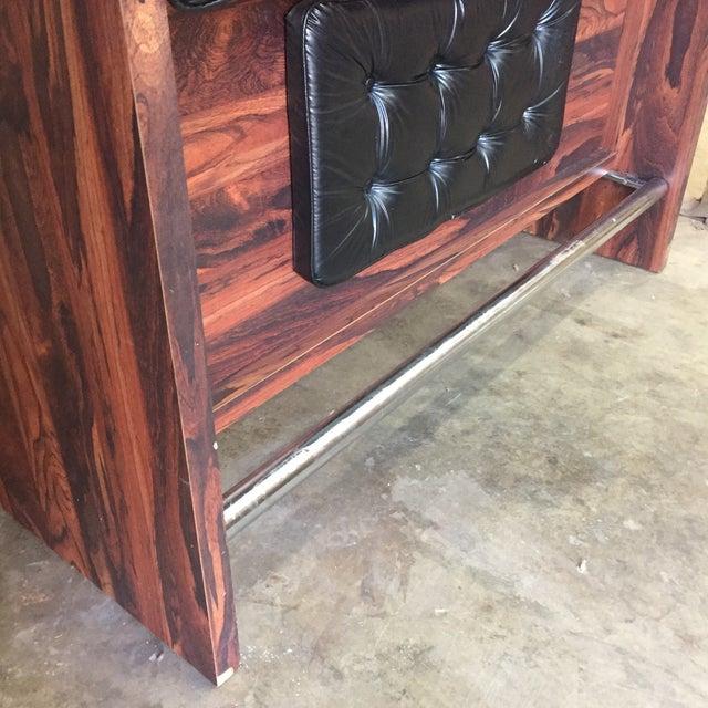 Brown 1970s Vintage Black Leather Tufted Dry Bar For Sale - Image 8 of 11