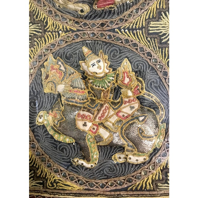 Coral Double Framed Embroidered Burmese Mythological Kalaga, Wall Tapestry/Hanging Panel For Sale - Image 7 of 10