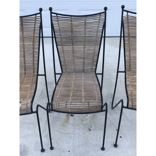 Set of 6 Mid-Century Ficks Reed Bamboo and Metal Chairs For Sale - Image 10 of 13