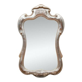 Large Carved Silver Gilt Beveled Wall Mirror For Sale