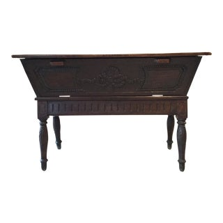 19th Century French Carved Wood Bread Dough Chest For Sale
