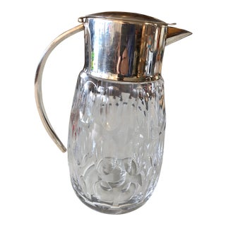 Vintage Scalloped Crystal and Chrome Water Pitcher For Sale