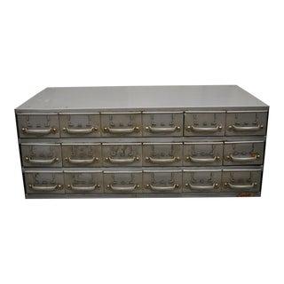 Vintage Equipto 18 Drawer Steel Metal Industrial Cabinet For Sale