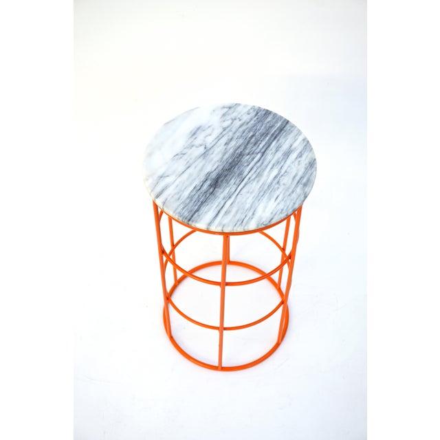 Carrara Marble & Orange Metal Fern Stand Pedestal Table - Image 9 of 11