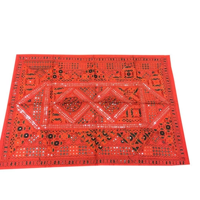 Art Deco Indian Vintage Red Sari Tapestry With Miror Patchwork Wall Hanging Throw For Sale - Image 3 of 3