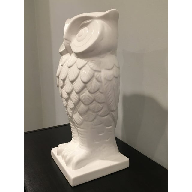 1990s Contemporary White Ceramic Owl Vase Chairish