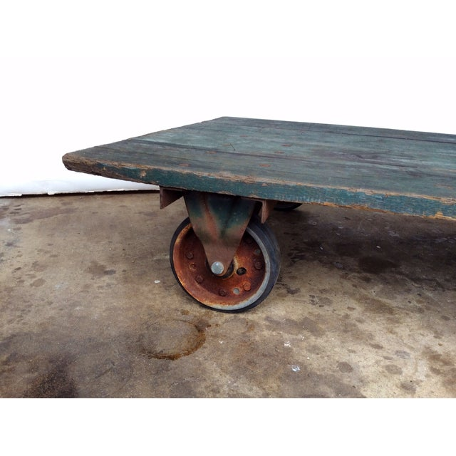 Pottery Barn Vintage Railroad Cart Coffee Table For Sale - Image 4 of 9