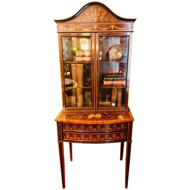 19th-Early 20th Century Edwardian Adams Inlaid Secretary Bookcase For Sale - Image 11 of 11