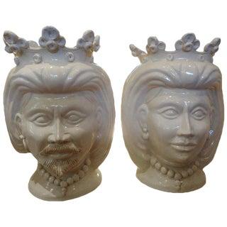 20th Century Italian Glazed Terra Cota Bust Jardinieres-A Pair For Sale