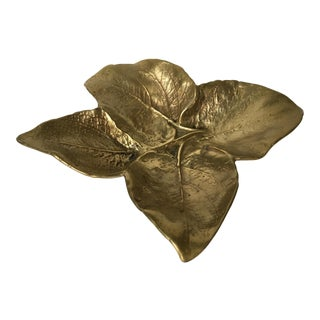 Mid-Century Modern Virginia Metalcrafters Solid Brass Large Leaf Catchall Tray For Sale