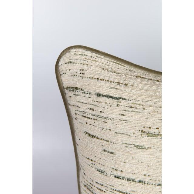 Custom Green & Ivory Velvet Tweed Pillows - a Pair - Image 2 of 5