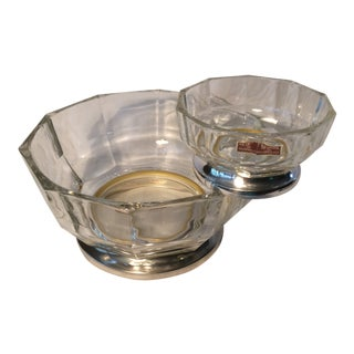 Italian Crystal Chip and Dip Bowls With Silver Plated Bases-Set of 2 by Gsa For Sale