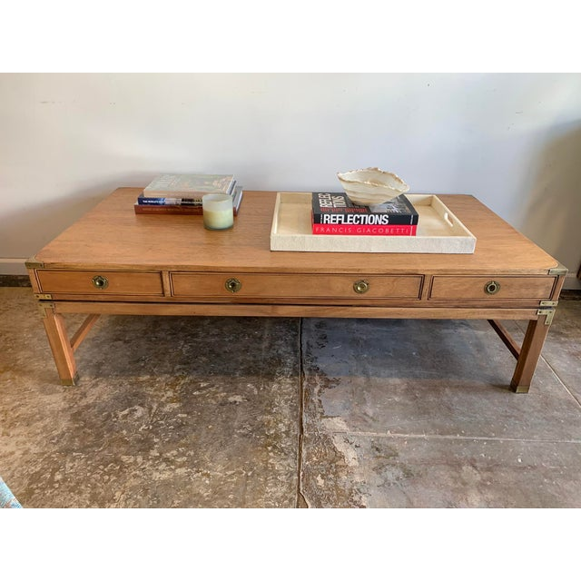 Brown Campaign Style Wood Coffee Table W/Drawers For Sale - Image 8 of 10
