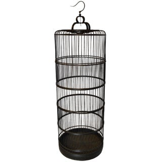 Antique Chinese Black Bamboo Birdcage For Sale