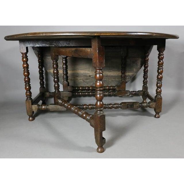Jacobean Large Jacobean Oak Gateleg Table For Sale - Image 3 of 11