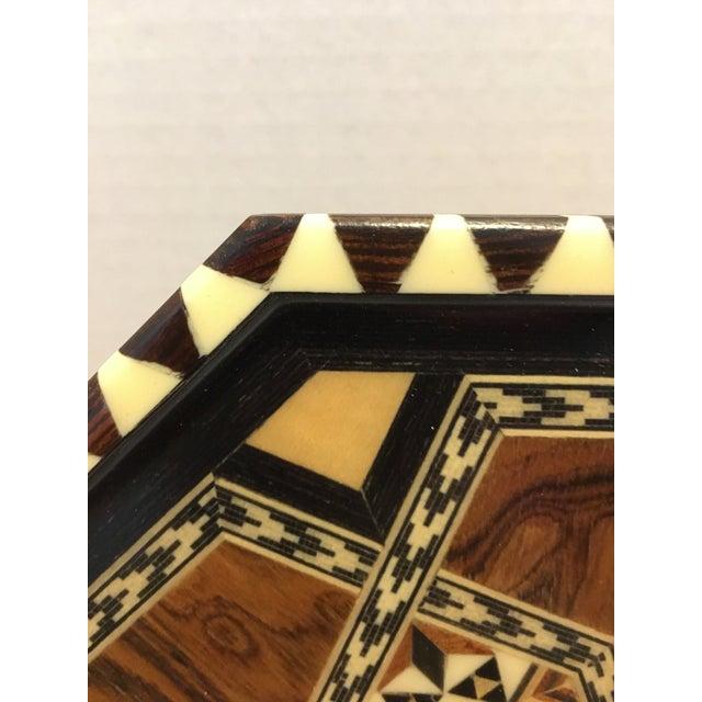 1980s Vintage Laguna Ocatgon Marquetry Inlaid Tray Granada Spain For Sale - Image 5 of 9