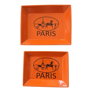 Orange Lacquered Hermes Inspired Change Tray Set For Sale