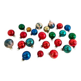 Americana Holiday Christmas Glass Ornaments - Set of 24 For Sale
