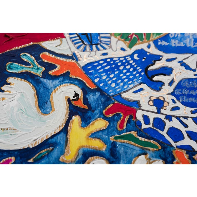 2010s Green and Pink Prayer Plant on Red and Orange in Blue and White Lions, Tigers and Bears Pot on Swan Floral Cloth Painting For Sale - Image 5 of 5