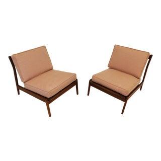 Mid-Century Modern Kofod Larsen Style Slipper Chairs - a Pair
