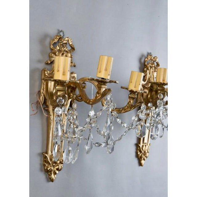 Brass French Brass & Crystal Acanthus Rococo Style Three Arm Sconces - Pair For Sale - Image 7 of 7