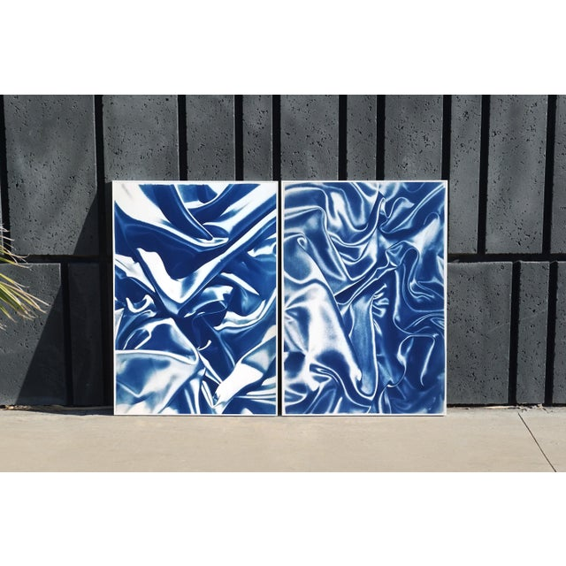 Late Night Adventurous Duo (Of Silks), Classic Blue Handprinted Cyanotype on Watercolor Paper, Limited Edition For Sale - Image 4 of 12