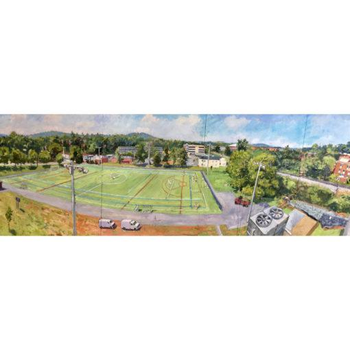 Large oil on board painting of University of Virginia Culbreth Arts Grounds as painted from the parking deck. Oil on board...